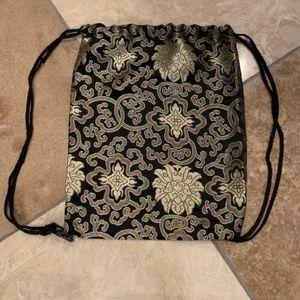 Handbags - Shiny Floral Fabric Backpack